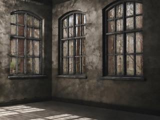 Pusty pokój z oknami na las