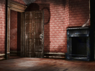 Obraz Stary pusty pokój z tapetą retro - fototapety do salonu