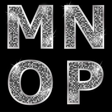 Silver metallic shiny letters M, N, O, P