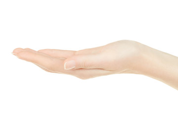 Female hand open, palm up on white, clipping path