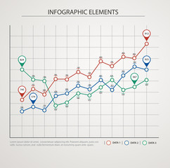 Elements of infographics with colored graphics.