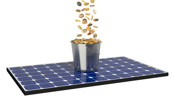 Solar Panel with bucket full with coins