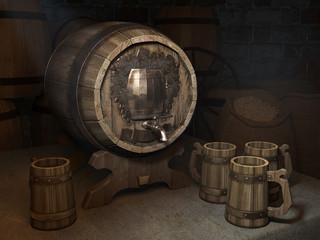 Cellar with beer keg