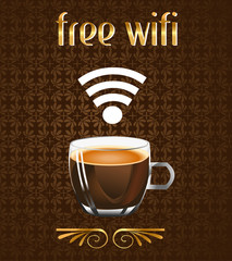 coffee poster with free wifi message in vector eps10