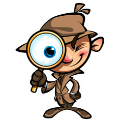 Cartoon cute detective investigate with brown coat and eye glass