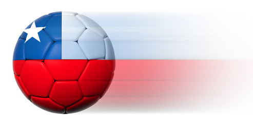Soccer ball with Chilean flag in motion isolated