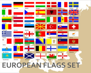 European countries flags set, vector
