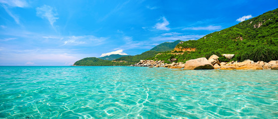 Panoramic view of a tropical beach.