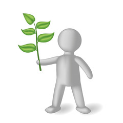 The 3D person with a green branch