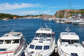 Motor boats in a marina