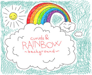 Clouds and rainbow background