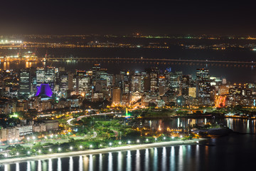 Night aerial view of Centro, Lapa and Cathedral. Rio de Janeiro