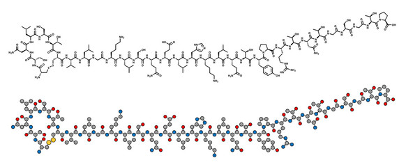 Salmon calcitonin peptide hormone drug, chemical structure.
