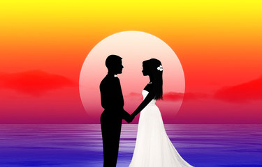 Honeymoon. The bride and groom