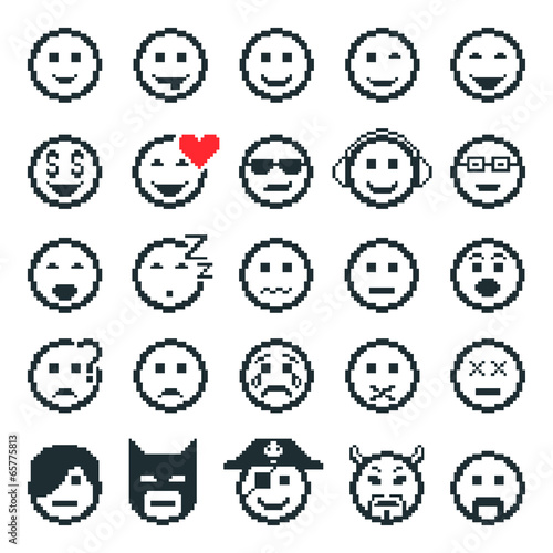 Vector Icons Of Smiley Faces Pixel Art Stock Image And Royalty