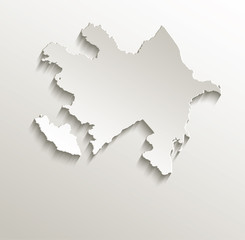 Azerbaijan map card paper 3D natural vector