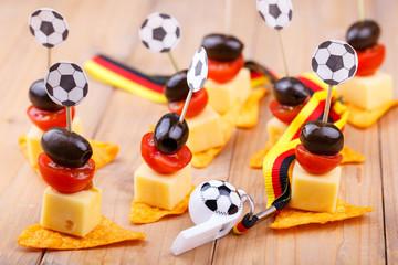 Fußball Pary Snacks in Schwarz Rot Gold für Fans