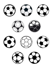 Set of soccer or football balls