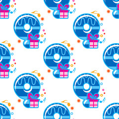 Number 9 childish seamless pattern