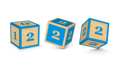 Vector number 2 wooden alphabet blocks
