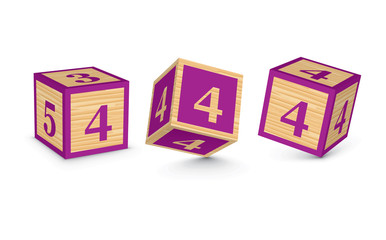 Vector number 4 wooden alphabet blocks