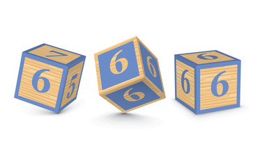 Vector number 6 wooden alphabet blocks