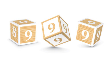 Vector number 9 wooden alphabet blocks