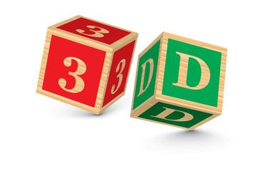 Word 3D written with alphabet blocks