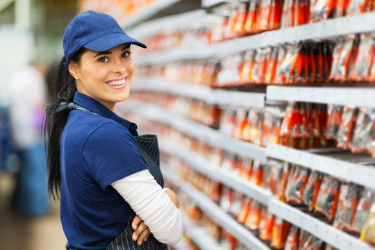 smiling hardware store worker