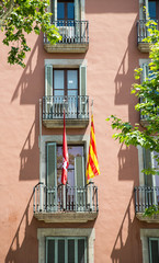 Flags on Barcelona Hotel Balcony