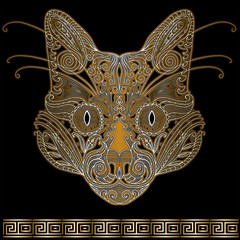 Cat face decorated with floral ornaments