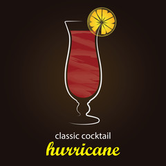 Classic Hurricane Cocktail in authentic Hurricane glass