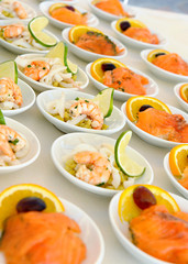 Seafood starters on a buffet with prawns