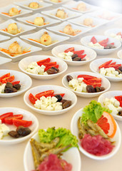 Individual cold salads and appetizers