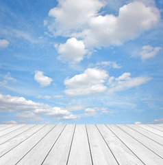 Fototapete - Cloudy Background with Wood