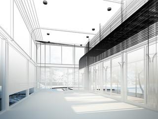 sketch design of interior hall, wire frame
