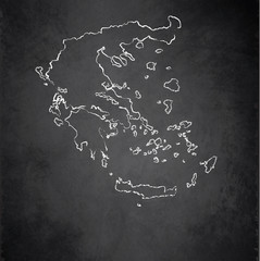 Greece map blackboard chalkboard vector