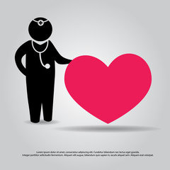 doctor and heart vector icon