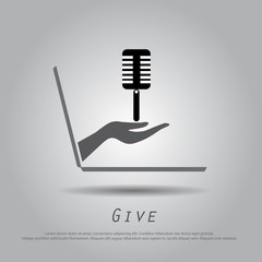 hand hold microphone  from laptop vector icon.