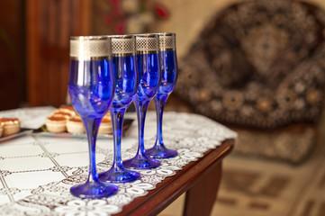 Dark blue glasses.