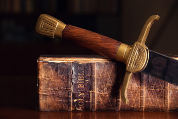 Old Bible With Sword