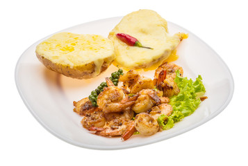Garlic shrimps with potato