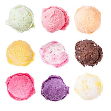 Set of ice cream scoops on white background