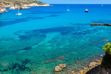 Ibiza Punta de Xarraca turquoise beach paradise in Balearic Isla