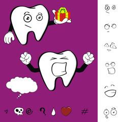 molar dental cartoon set vector2
