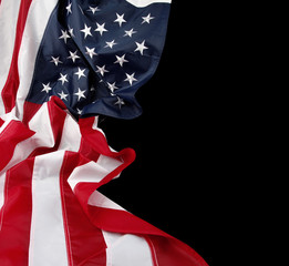 American flag on black