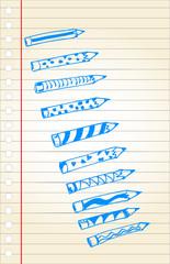 doodle style, pencils