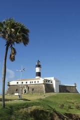 Farol da Barra Lighthouse Salvador Brazil with Palm Tree