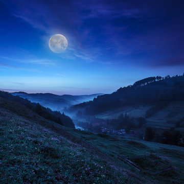 cold fog in mountain village at night