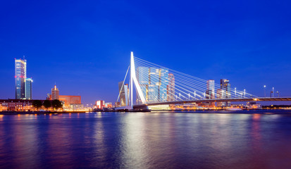 Fototapete - Rotterdam Skyline at Twilight, The Netherlands